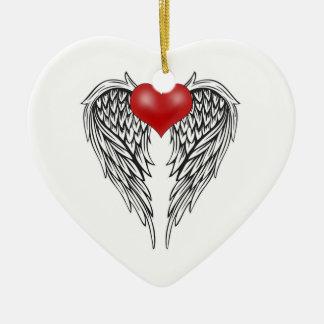 Angel heart tattoo christmas ornament