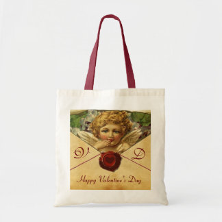 ANGEL HEART WAX SEAL PARCHMENT Monogram Budget Tote Bag