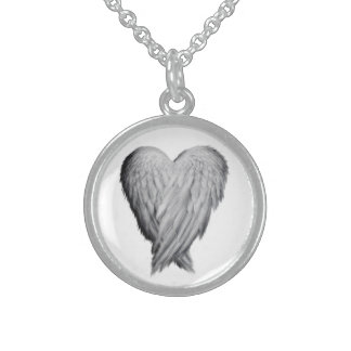 Angel heart wings necklace pendant silver