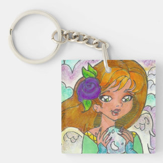 """Angel Hiding In the Clouds"" Keychain"