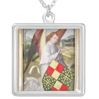 Angel holding a shield silver plated necklace