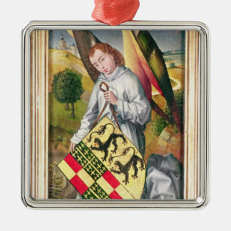 Angel holding a shield with  two leopards christmas ornament