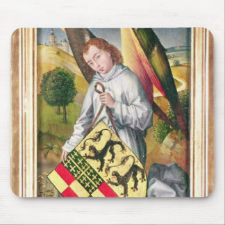 Angel holding a shield with  two leopards mouse mat