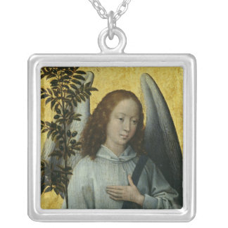 Angel Holding an Olive Branch Silver Plated Necklace