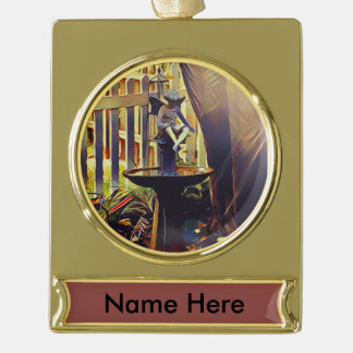 Angel Holiday Christmas Hanging Ornament Gold Plated Banner Ornament