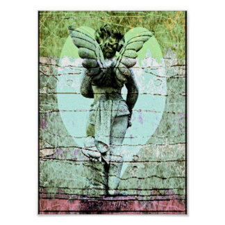 Angel Holy Cross and Heart Poster