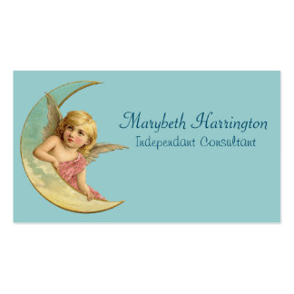 Angel in a crescent moon vintage image business card template