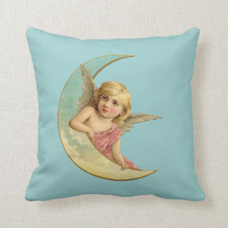 Angel in a crescent moon vintage image throw pillow