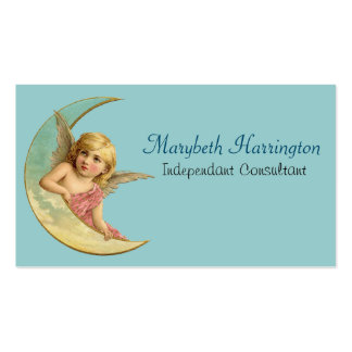 Angel in a crescent moon vintage image pack of standard business cards