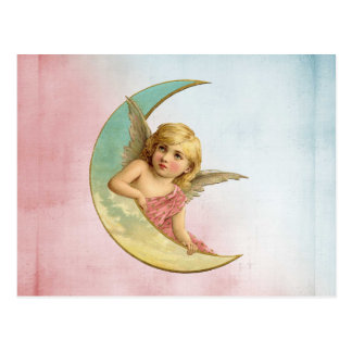 Angel in a crescent moon vintage image postcard
