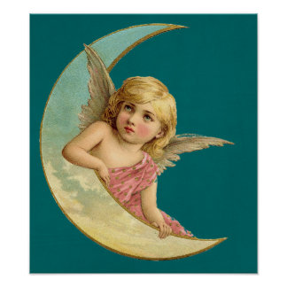 Angel in a crescent moon vintage image poster