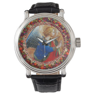 ANGEL IN GOLD RED AND BLUE, FLORAL CROWN WITH GEMS WRIST WATCH
