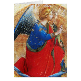 ANGEL IN GOLD RED AND BLUE GREETING CARD