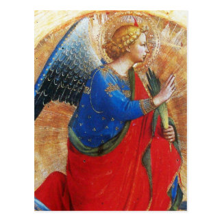 ANGEL IN GOLD RED AND BLUE POSTCARD