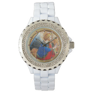 ANGEL IN GOLD RED AND BLUE WRISTWATCH