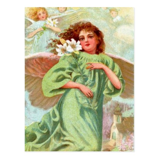 Angel In Green Cloak Postcard