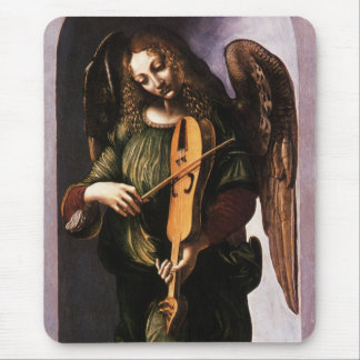 Angel in Green with a Vielle by Leonardo da Vinci Mouse Pad
