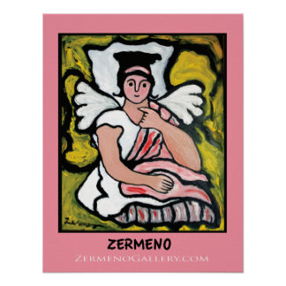 """Angel in Pink"" by Zermeno Posters"