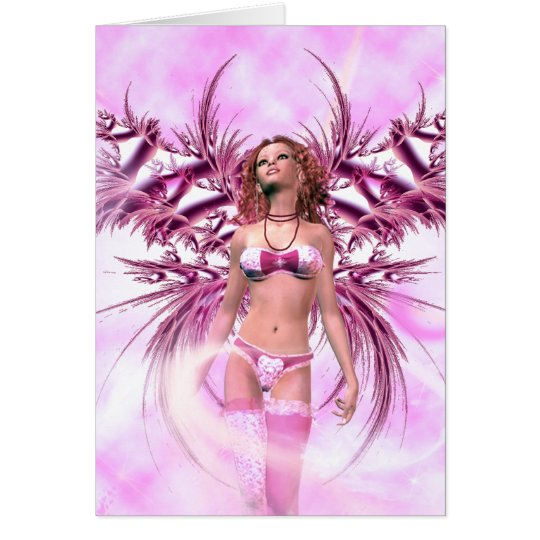 Angel In Pink Fantasy Card