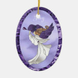 Angel in Purple Stained Glass Ceramic Oval Decoration