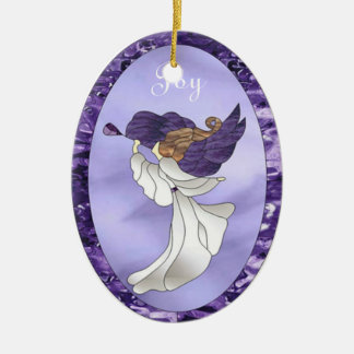 Angel in Purple Stained Glass Christmas Ornament