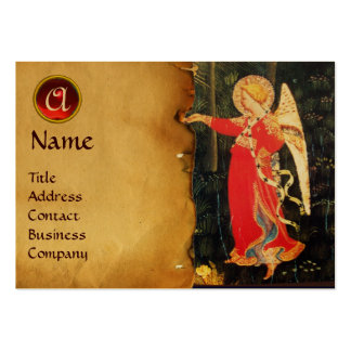 ANGEL IN RED AND BLACK MONOGRAM GOLD METALLIC BUSINESS CARDS