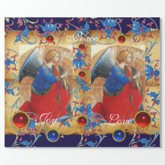 ANGEL IN RED,GOLD,BLUE FLORAL PARCHMENT WITH GEMS WRAPPING PAPER