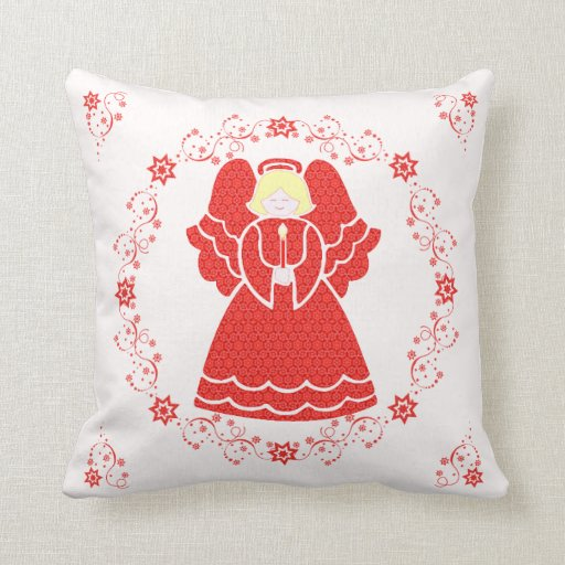 Angel in Red Lace Pillow