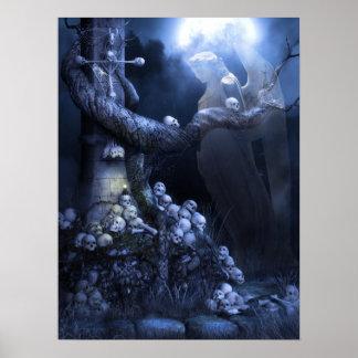 Angel in skull graveyard poster