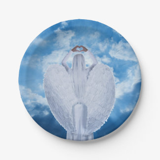 Angel in the clouds 7 inch paper plate