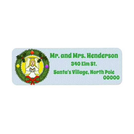 Angel in Wreath Christmas Return Address Labels
