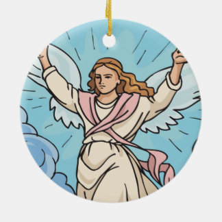ANGEL IN YOUR HEART Double-Sided CERAMIC ROUND CHRISTMAS ORNAMENT