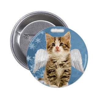 Angel Kitten Christmas Button