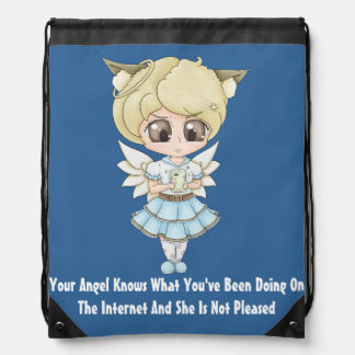 Angel Knows What You've Been Doing On The Internet Drawstring Bag