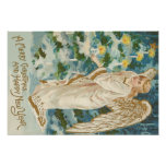 Angel Lighting Candlelit Christmas Tree Poster