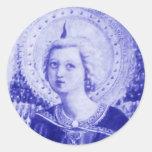 Angel Looking Upwards Classic Round Sticker