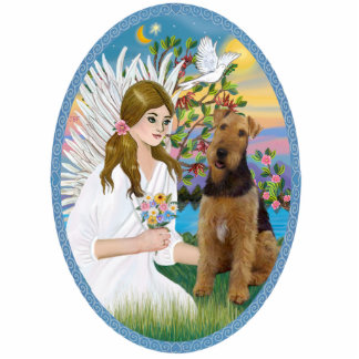 Angel Love  -Airedale Standing Photo Sculpture