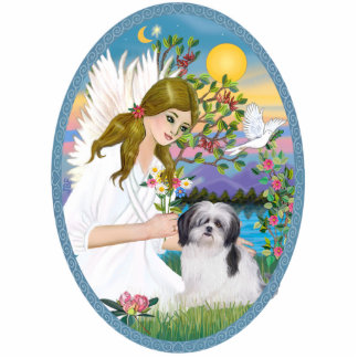 Angel Love and Shih Tzu (black / white) Acrylic Cut Out