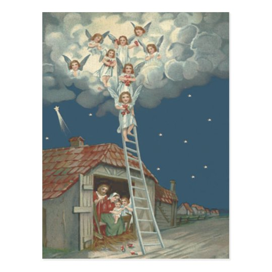 Angel Manger Nativity Jesus Christian Postcard
