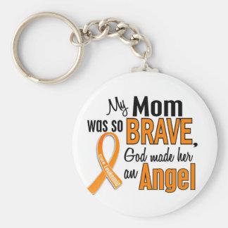 Angel Mom Leukemia Basic Round Button Key Ring
