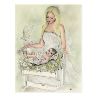 Angel mother baby postcard