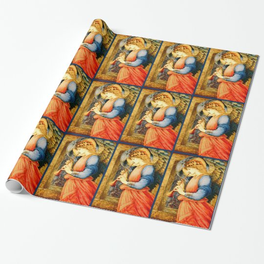 Angel Musician Playing a Flageolet Christmas Wrapping Paper