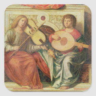 Angel musicians from painting of Virgin and Square Sticker