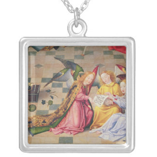 Angel musicians from right panel of altarpiece silver plated necklace