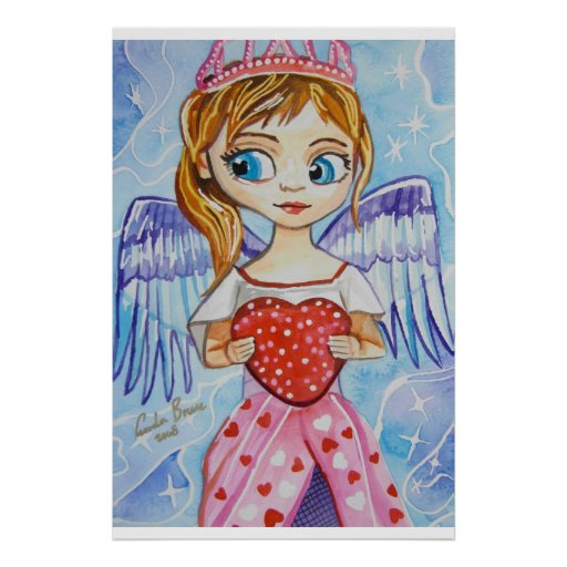 Angel of love cute girl with a heart Gordon Bruce Posters