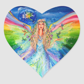Angel of Peace Heart Sticker