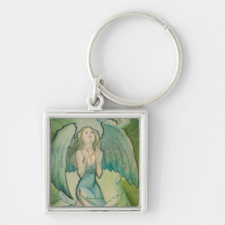 Angel of Peace Silver-Colored Square Key Ring