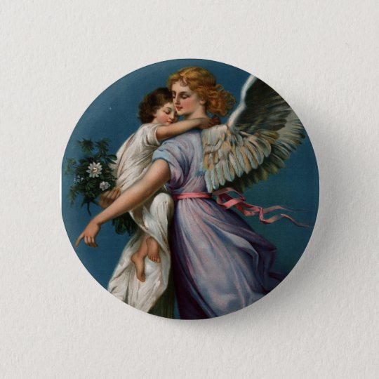 Angel of peace vintage design (1901) button/pin 6 cm round badge