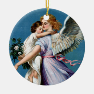 Angel of Peace Vintage Poster Restored Round Ceramic Decoration