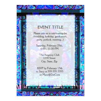 Angel on Blue Pattern of Flowers 17 Cm X 22 Cm Invitation Card